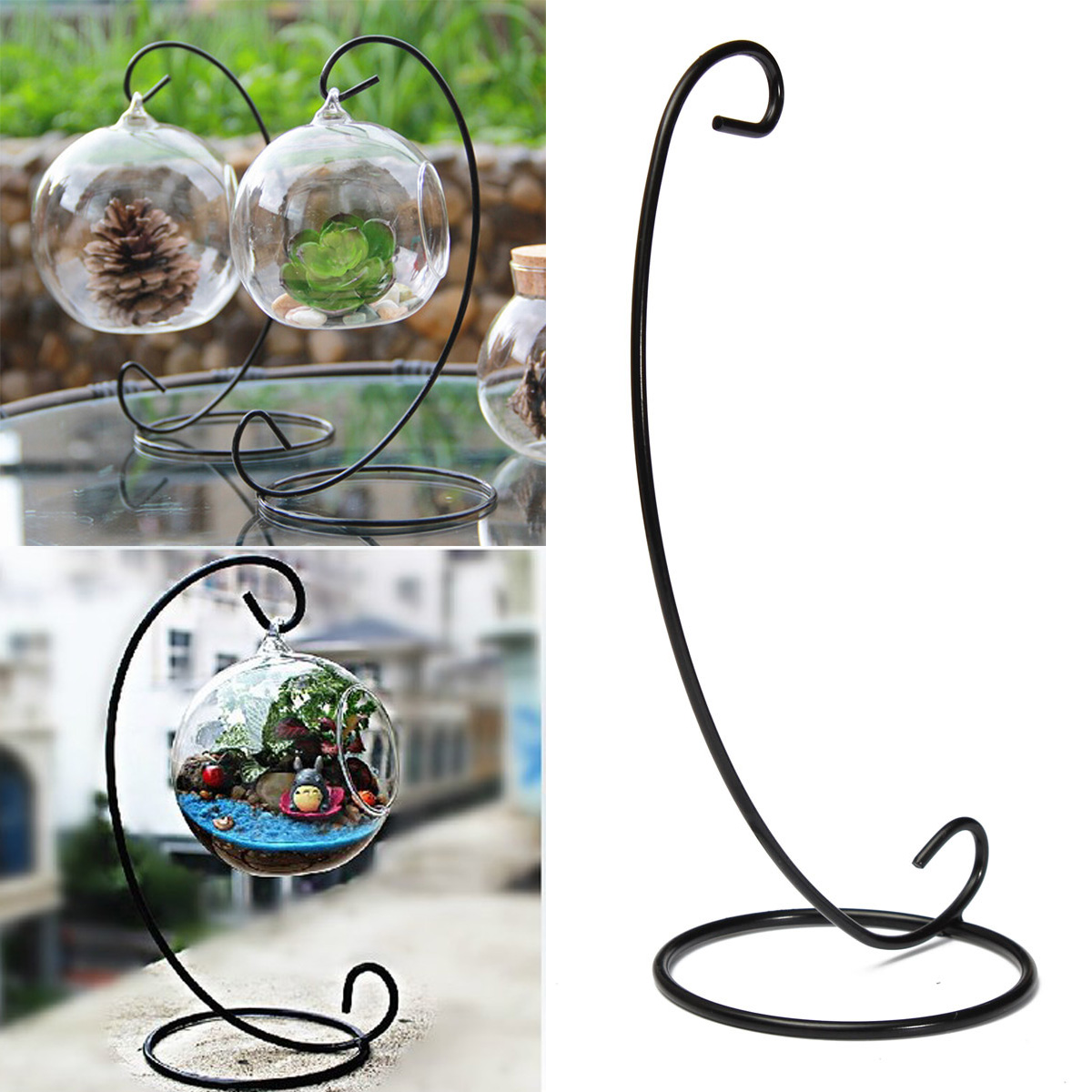 "23cm 9"" Black Iron Plant Stand Holder for Clear Glass ... on Plant Stand Hanging  id=30548"