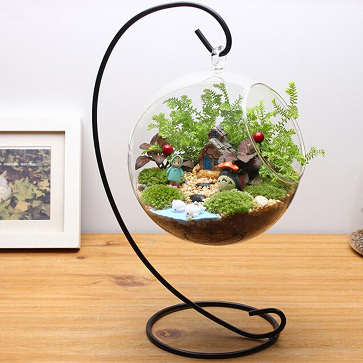 Black Metal Iron Stand Holder For Hanging Plant Pot Plant ... on Hanging Stand For Plants  id=63273
