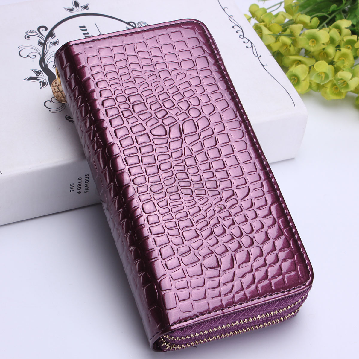 Women Double Zipper Long Wallet Clutch Leather Card Coin