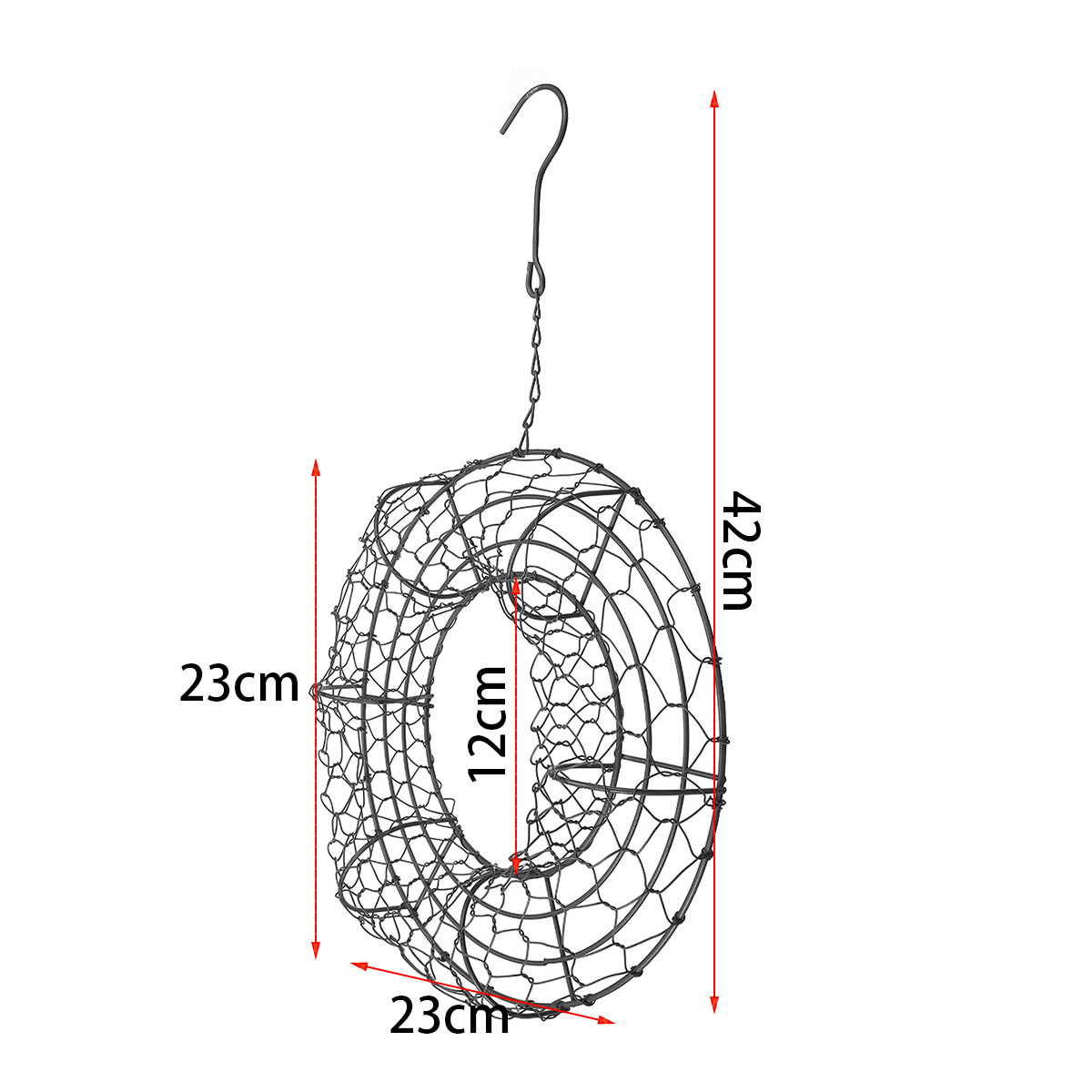 9 Succulent Hanging Iron Ring Wire Wreath Frame Pot