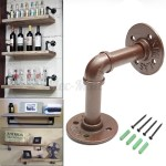 Industrial Steampunk Iron Pipe Shelf Bracket Support Wall