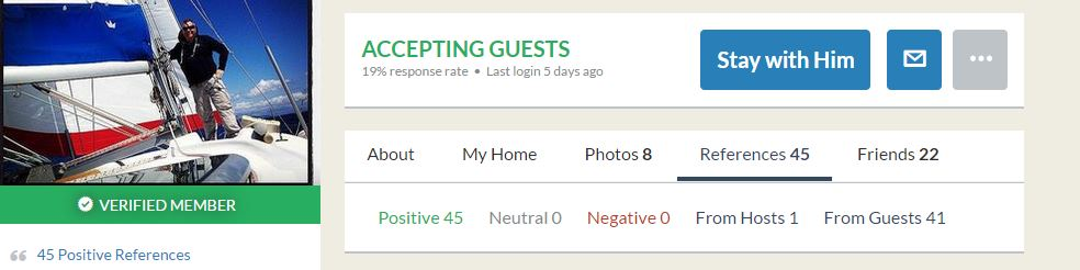 This user (my host in Split) had all positive references and is a verified user.