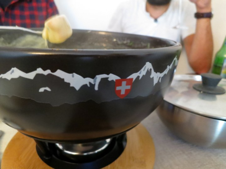 True Swiss fondue cooked in Lucerne