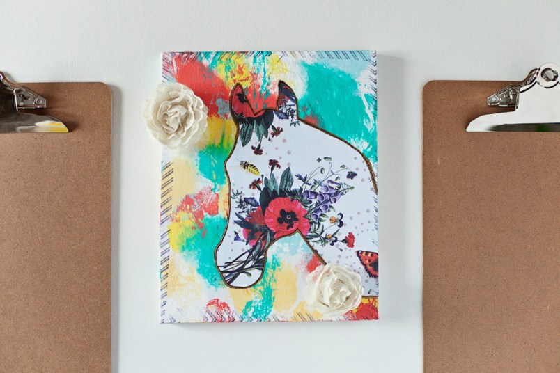 A quick and easy horse mixed media canvas with video.