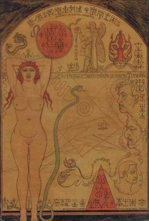 Oeuvre d'Austin Osman Spare extraite d'un catalogue d'exposition.