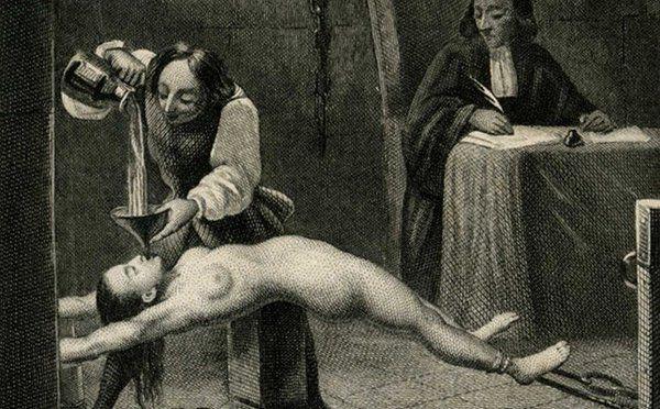 Marquise de Brinvilliers (1630-1676) soumise à la torture, gravure du 19e siècle.