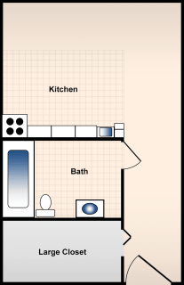 Studio / 1 Bath / 344 sq ft / Rent: $535