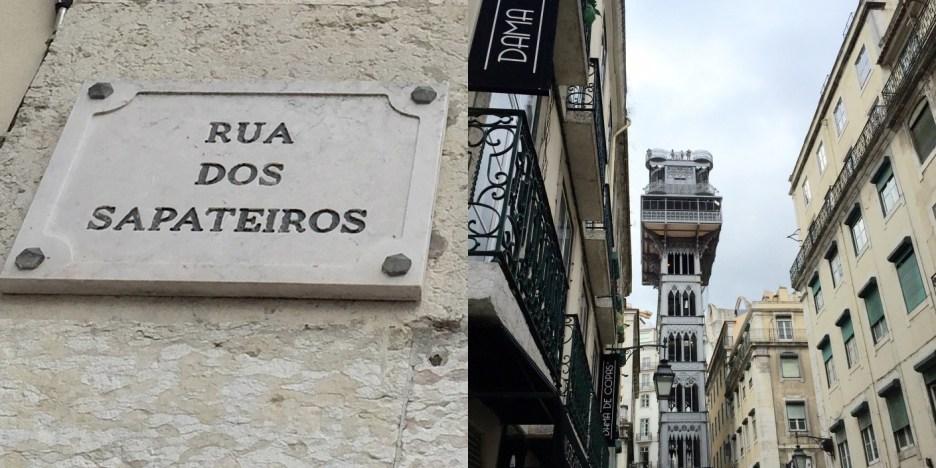 Street of shoemakers - my kinda street - ... and the impressive Santa Justa elevator.