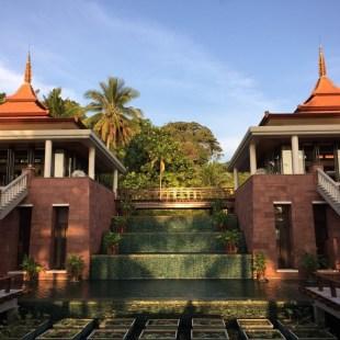 Trisara resort reception with waterfall lotus garden