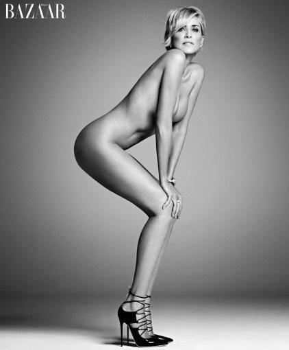 Sharon Stone posing nude In Jimmy Choose heels for Harper's Bazaar