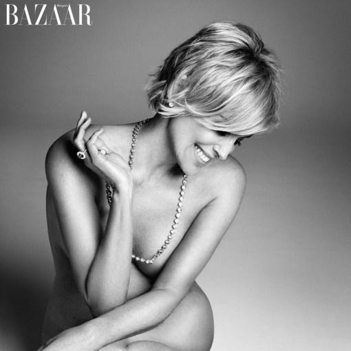 Sharon Stone posing nude with diamonds for Harper's Bazaar