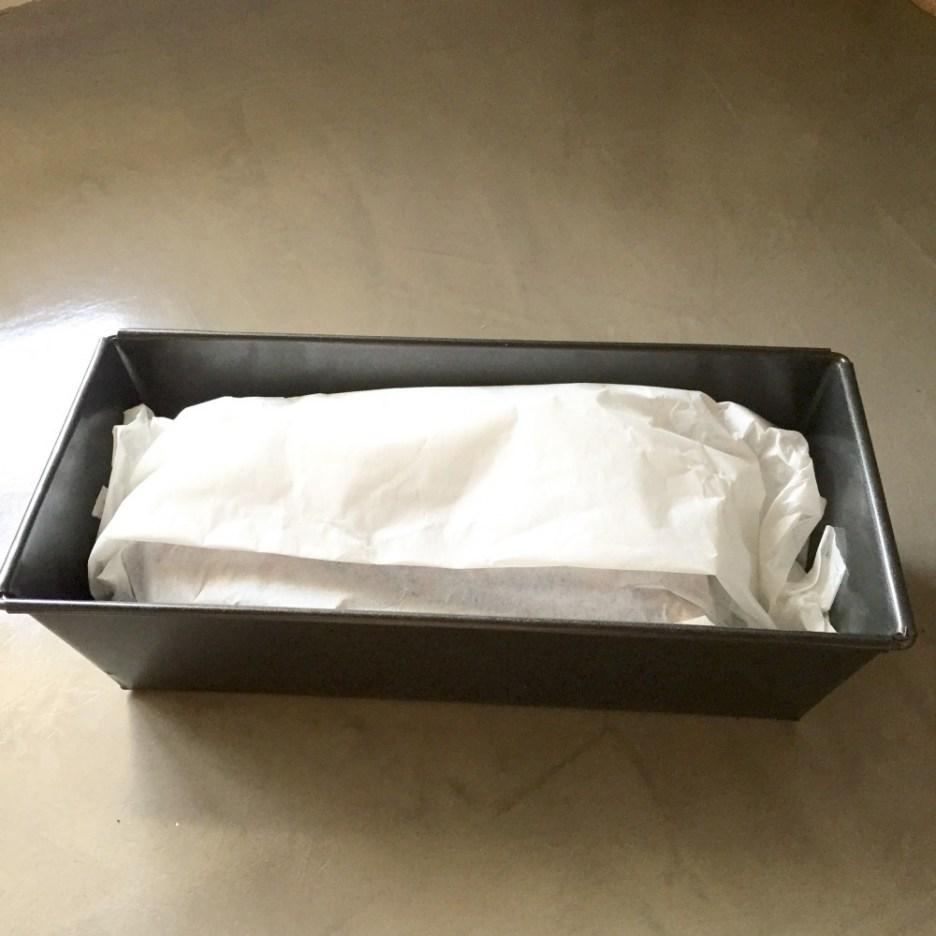 Baking tin with greaseproof paper sugar free banana bread