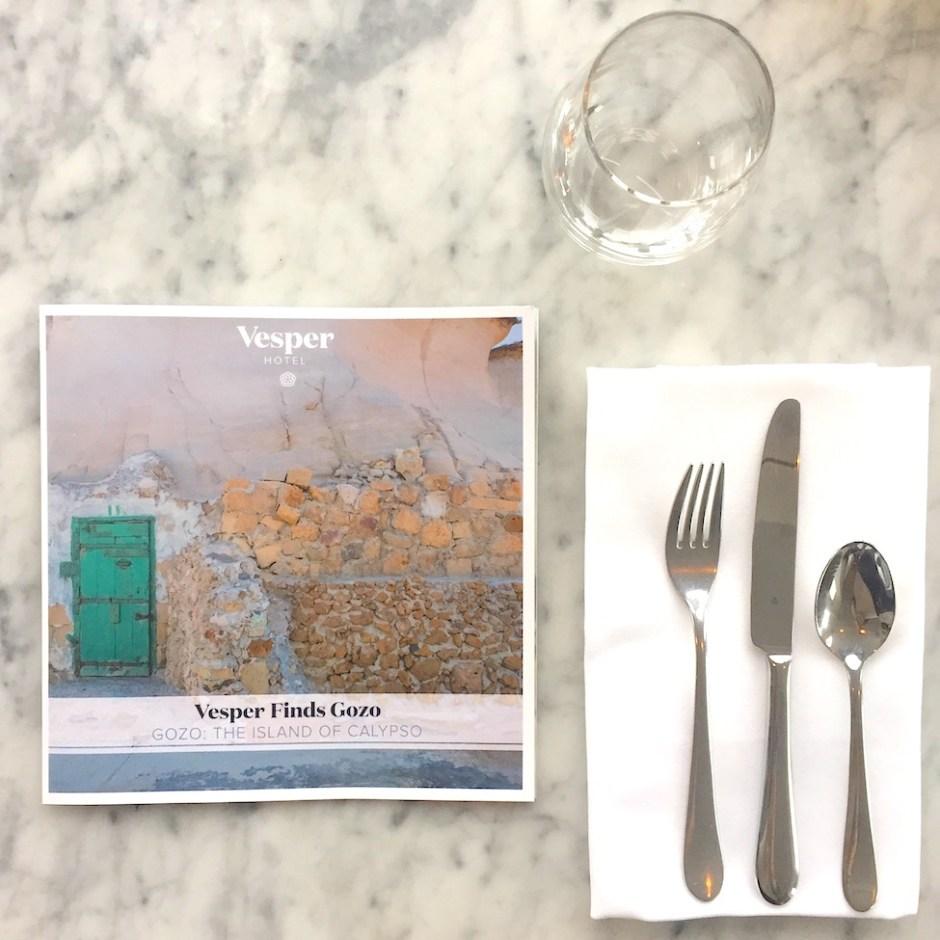 Vesper hotel gozo menu