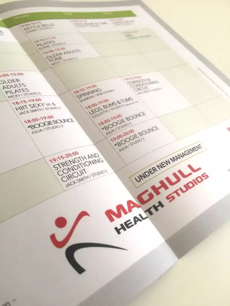 Print Design and Digital Printing of leaflets for Maghull Health Studios