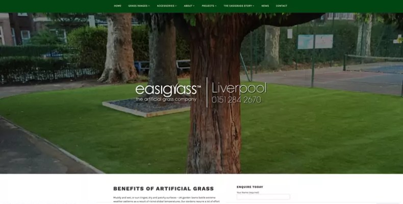 Artificial Grass Liverpool Website Design by Character Creates