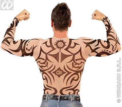 Tattoo Shirt Tribal Mens Costume for 80s Film TV Fancy