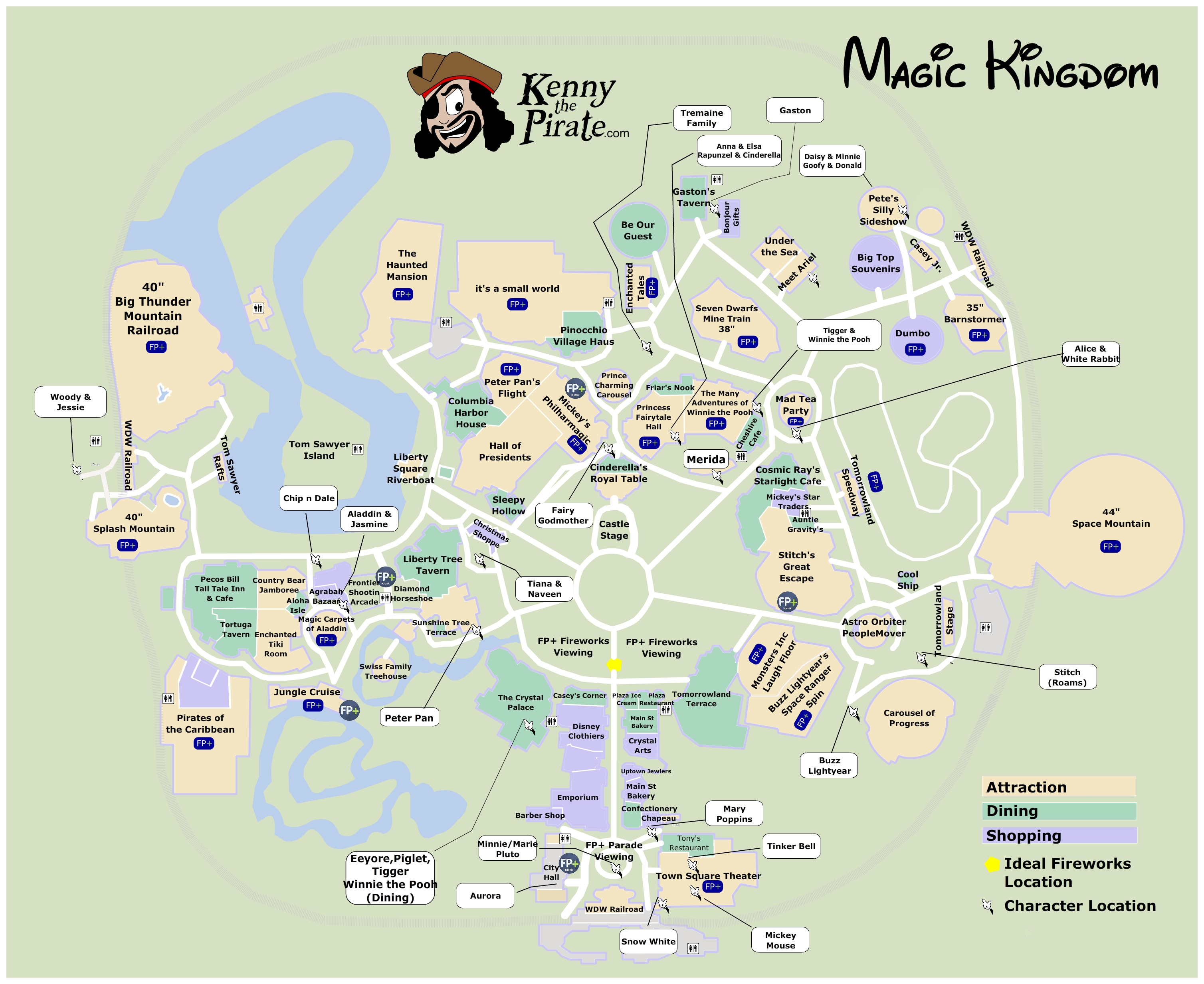 Magic Kingdom Character Location Map KennythePirate