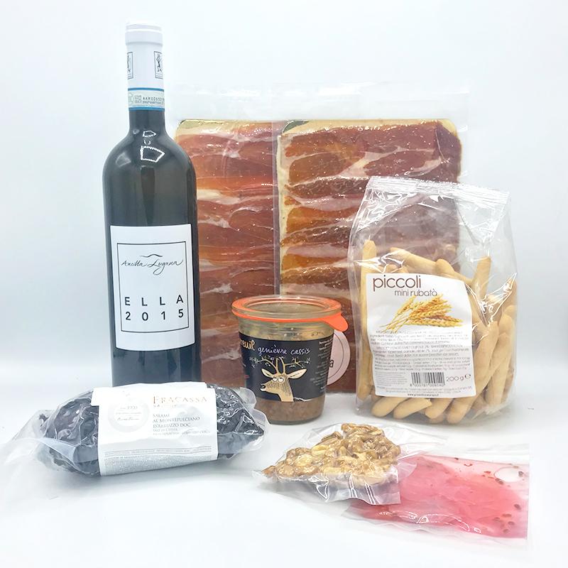 Charcuterie pakket fijne vleeswaren droge ham salami terrine wijn