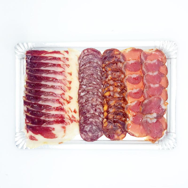 Pata Negra Plateau Spaanse delicatessen Iberico de Bellota Chorizo Paleta Salchichon Lomo