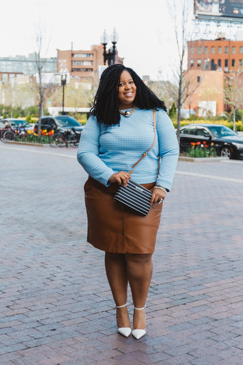 Chardline Wearing Plus Size Leather Skirt