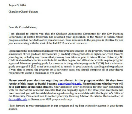 Grad School Acceptance to Boston University
