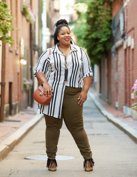 Fall Fashion with Fashion to Figure   Chardline Chanel     Chardline Plus Size Blogger wearing Fashion to Figure Olive Green Denim  Jeans for Fall Fashion