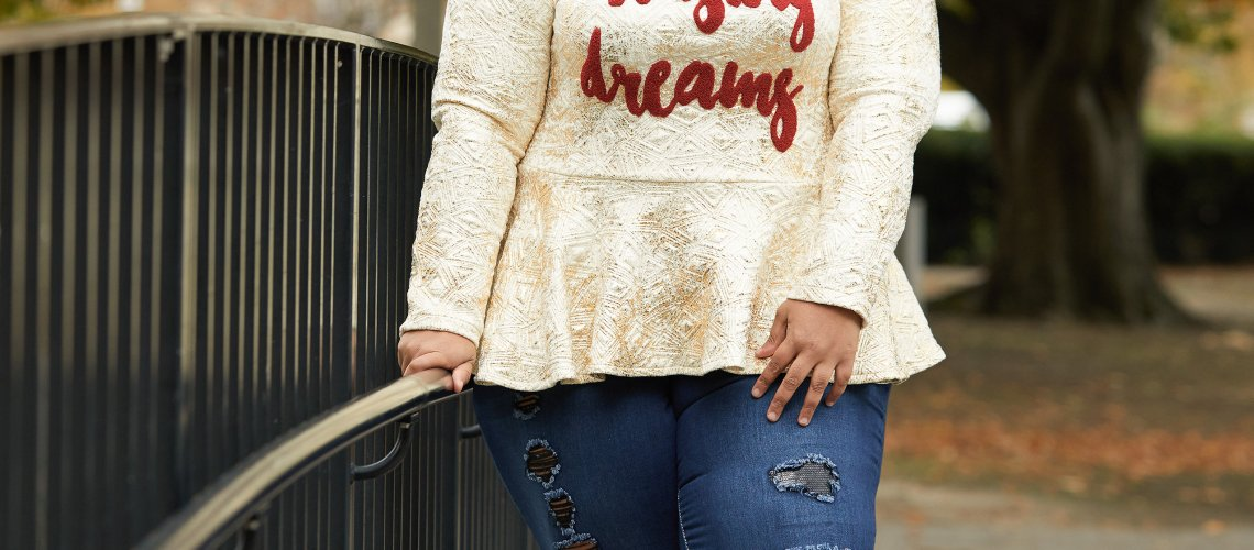 Plus Size Peplum Shirt from Kierra Sheard's Eleven60 Collection Chardline