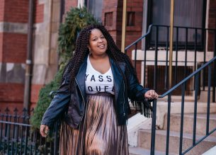 Plus Size Blogger wearing Yasss Queen Shirt and leather fringe jacket