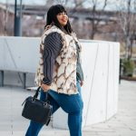 Plus Size Blogger Mixing Stripes and Fur