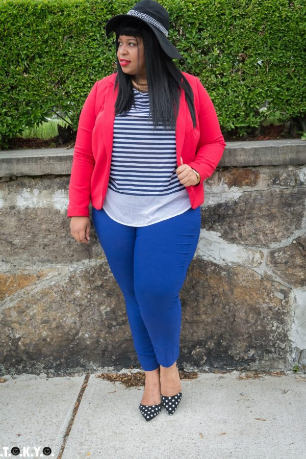 Blazer: C/O Dia and Co Top: Dia and Co Pants: Eloquii Heels: Lane Bryant Hat: Kardashian Collection