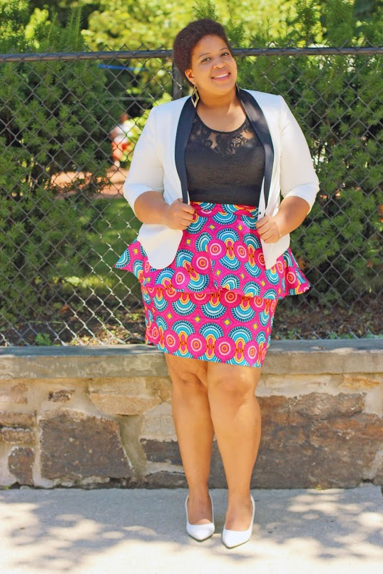 Blazer: Forever 21 Top: (actually a dress(: Forever 21 Skirt: AfrikInspired Heels: 6pm.com