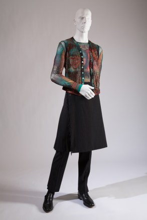 John Paul Gaultier, ensemble with kilt and trousers, worn by Darrell Moos. Photo courtesy The Museum at FIT.