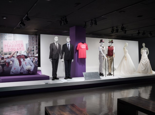 Marriage Equality Installation view of A Queer History of Fashion: From the Closet to the Catwalk. Photograph © The Museum at FIT, New York.