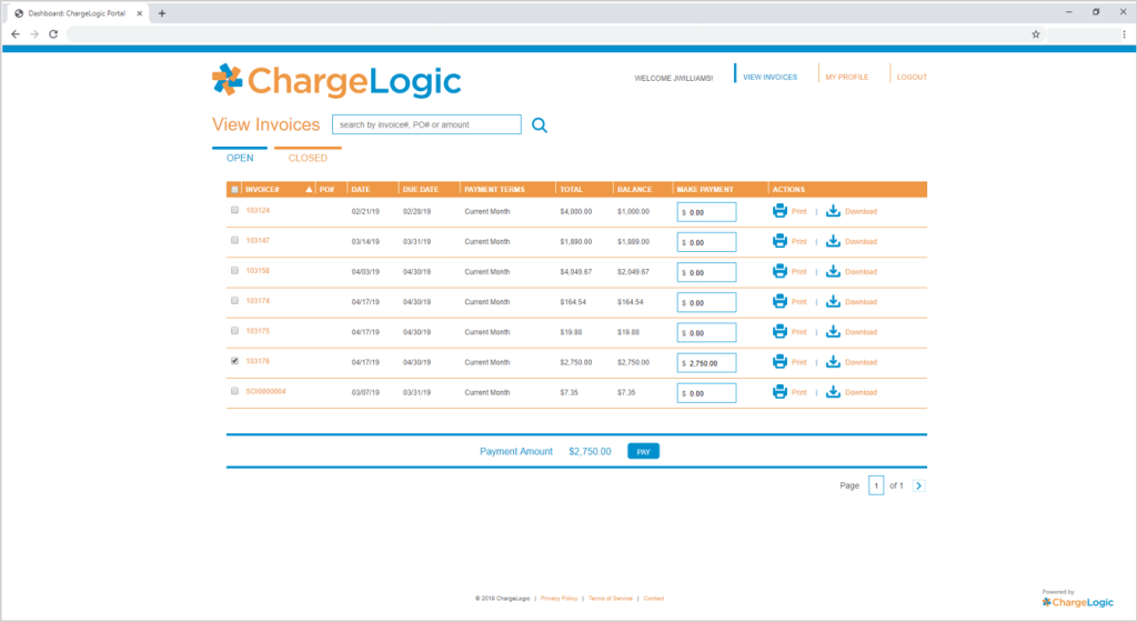 Make full or partial invoice credit card or ACH payments on ChargeLogic's Payment Portal.