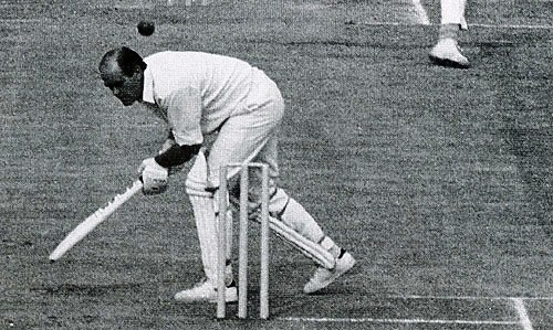 Brian Close ways out of the way of a Michael Holding bouncer, England v West Indies, Old Trafford, July 10, 1976
