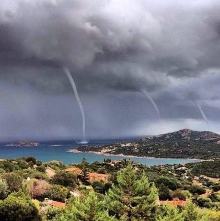 Triple Tornado on the Island of Sardinia.