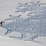 English Man Walking All Day to Create Massive Snow Patterns