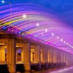"""Moonlight Rainbow"" Worlds Longest Fountain Bridge"