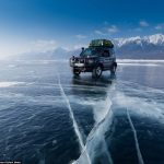 Exquisite pictures show gorgeous frosty landscape on 500-mile drive across Frozen Lake Baikal in Siberia