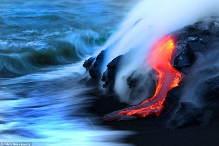 Lava crashing into the Sea off Hawaii