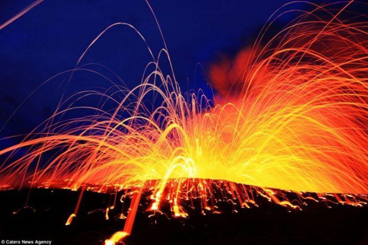 Lava crashing into the Sea off Hawaii13