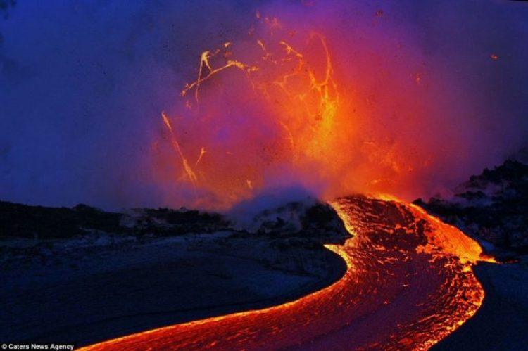 Lava crashing into the Sea off Hawaii15