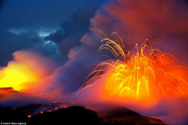 Lava crashing into the Sea off Hawaii20