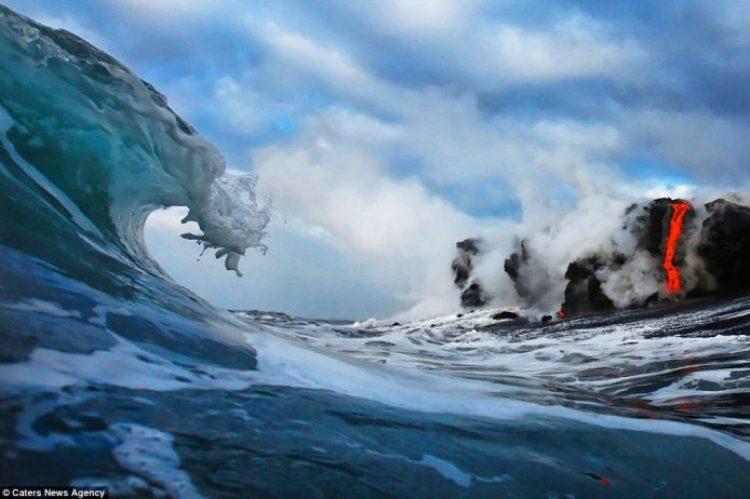 Lava crashing into the Sea off Hawaii3