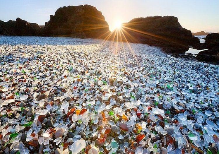 Sparkling Glass Beach of California 0