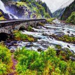 Latefossen Waterfall Near Odda, Hordaland, Norway, Scandinavia, Europe