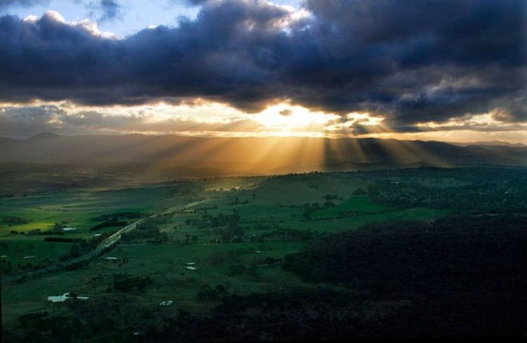 Crepuscular rays at Black Mountain Tower, Canberra