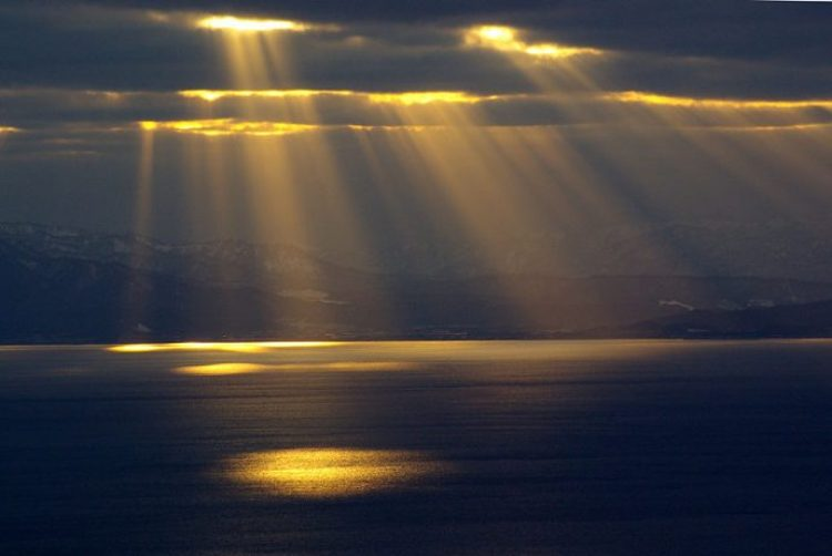 Crepuscular rays at Hakodate Bay, Japan