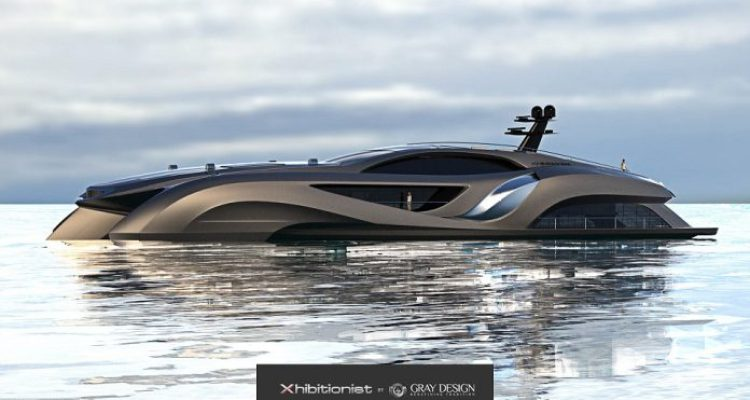 The 229ft-wide Xhibitionist is an extravagant, multipurpose yacht designed by Swedish supercar designer Eduard Gray