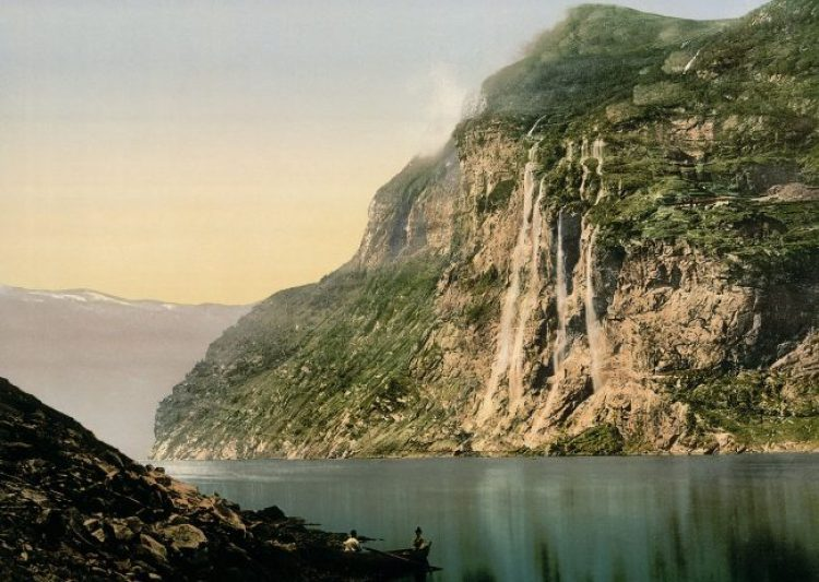 A historic photograph of the fjord with its Seven Sisters